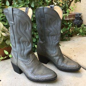 Vintage Botas Grey Snake Skin Cowboy Boots 8 1/2